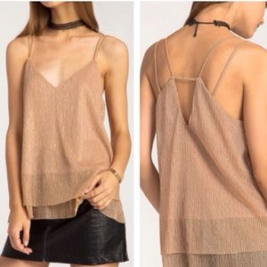 Tops - LAST 1❗️NWT Lined Rose Gold Cutout Strappy Tank